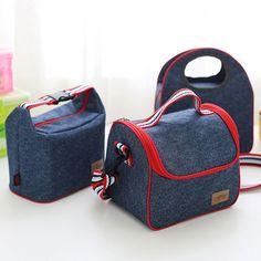 Honana DW-LB5 Jean Aluminum Insulated Lunch Bag Picnic Bento Food Box Cooler Bag Organization - Banggood Mobile