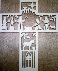 Wooden Nativity Cross