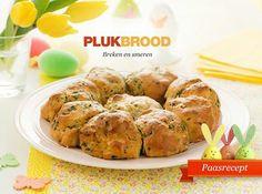 Breekbrood. Ga voor het recept naar de site van Koopmans:  http://www.koopmans.com/recepten/koopmans-recepten/brood/breekbrood-plukbrood-brood-paasbrunch/