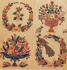 Baltimore Album Quilt detail, 1848. Made by Mary Evans for John and Rebecca Chamberlain. Baltimore, Maryland.