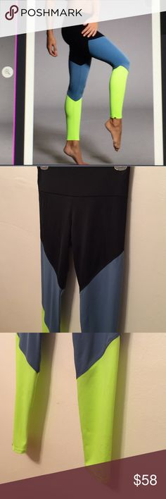 Onzie Color Block Legging NWOT Black, blue and neon green legging for track, yoga (great for hot yoga),  cross fit or everyday wear. Onzie Pants Track Pants & Joggers
