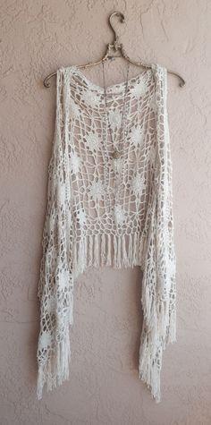 Bohemian tan crochet vest with fringe hippie gypsy girl beach coverup coachella… Gilet Crochet, Crochet Fringe, Crochet Jacket, Crochet Cardigan, Crochet Scarves, Crochet Clothes, Knit Crochet, Free Crochet, Gilet Kimono