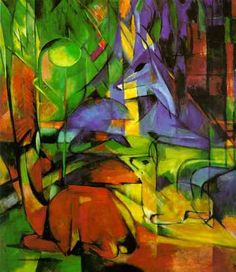Lovely German Expressionist Franz Marc Deer in the Forest II wooden coaster mat rest for drinks tea coffee or posey and ornament stand Franz Marc, Art Dégénéré, Cavalier Bleu, Degenerate Art, Expressionist Artists, Wassily Kandinsky Paintings, Blue Horse, Art Moderne, Famous Artists