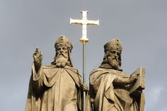 File:Top of Statue of Saints Cyril and Methodius in Třebíč. Catholic Herald, Catholic Saints, European History, Ancient History, Old Church Slavonic, Samurai, Christian Symbols, Religious Architecture, Byzantine