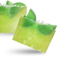 Melt and Pour Soap Recipe: Margarita Lime Loaf Soap. This soap looks just like a margarita - even down to the salt on top of the glass. The fragrance of margarita lime is very light and refreshing.