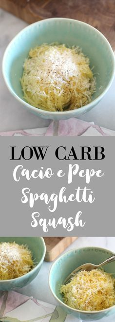 This super simple cacio e pepe spaghetti squash is delicious low carb side dish make with only cheese and pepper!
