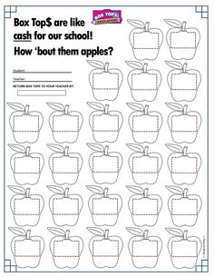 Apples Box Tops Collection Sheet 25ct -- Back to School -- #boxtops #btfe