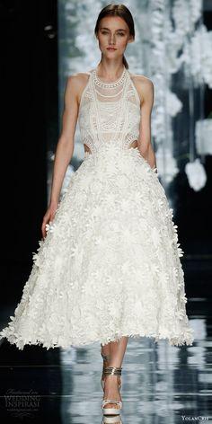 yolan cris bridal 2016 besagu sleeveless halter neck tea length wedding dress cutout lace flower appliques   white wedding  