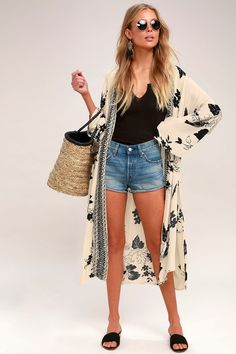 42f7ffe097 The Billabong Sea the Sun Light Beige Print Kimono goes hand in hand with  sun and
