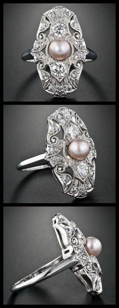http://diamondsinthelibrary.com/edwardian-natural-pearl-and-diamond-dinner-ring/ You're familiar by now with my weakness for Edwardian dinner rings. This one is another really lovely example. This ring is from the first decade of the 20th century. It is is centered with a lustrous purplish pink natural pearl and highlighted with high quality European cut diamonds set into scrolling foliate motifs. I think …