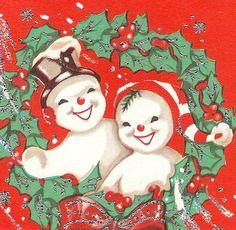 Vintage  Snowman Xmas Card