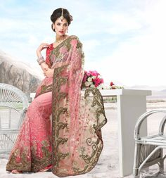 $155.68 Pink Net Saree 20435 With Unstitched Blouse