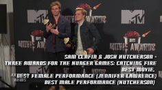 Raw footage from the #MTVMOVIEAWARDS Press room. #JoshHutcherson and #SamClaflin are from 10:47 to 13:38. Also #JAREDLETO, #CHANNINGTATUM, more
