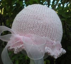 Precious Hand Knit Baby Hat Pink With Sheer by HollyLaneTreasures, $22.00