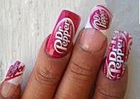 Dr. Pepper | Nail Art Funky Nail Art, Funky Nails, Cool Nail Art, Cute Nails, Pedicure Designs, Nail Art Designs, Spring Nail Trends, Dr Pepper, Nail Art Hacks