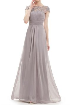 Chiffon and Lace Bridesmaid Dress with Cap Sleeves - Jackie | Toast Bridal