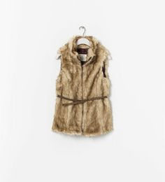Image 1 of FUR VEST WITH BELT from Zara