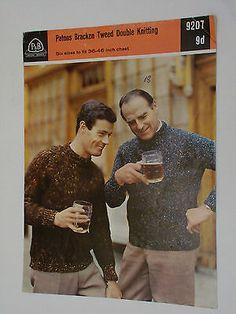 Vintage-Knitting-Pattern-Patons-Bracken-Tweed-DK-Men-039-s-Sweater-36-46-034-9207