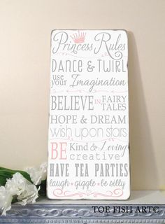 Cute quote for the door. Princess Rules Wall Art - Typography Word Art Wall Decor on Wood Nursery or Playroom Sign on Etsy Princess Nursery, Girl Nursery, Girls Bedroom, Princess Bedrooms, Bedroom Ideas, Pink Princess Room, Dance Bedroom, Princess Room Decor, Princess Wall Art