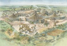 Reconstruction of an Iron Age village Carn Euny Ancient Village, near Sancreed, Cornwall. First settlement dates to the 5th Century BC.