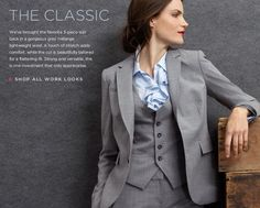 BananaRepublic --- whaaa??  A women's three piece suit!  This is how I want to look for the wedding. Need to find a purple vest though.