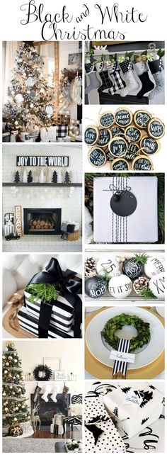 christmas inspiration stunning-black-and-white-christmas-style-series-black-and-white-decor-diys-inspiration Decoration Christmas, Noel Christmas, Christmas Fashion, Rustic Christmas, Xmas Decorations, Christmas Themes, Christmas Crafts, Christmas Ornaments, Christmas Island