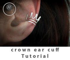 Crown Ear Cuff wire jewellery tutorial by HelenaBausJewellery Ear Cuff Tutorial, Handmade Jewelry Tutorials, Bridal Jewelry, Unique Jewelry, Wire Jewellery, Jewelry Patterns, Crown, Handmade Gifts, Earrings