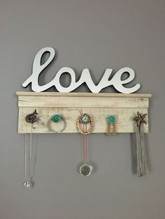 Beach Theme Jewelry Holder with Shelf-Necklace Hanger