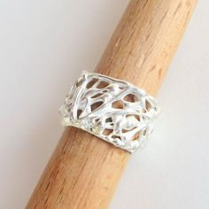 Abstract Sterling Silver Wedding Band Organic by LulyJewelry, $129.00