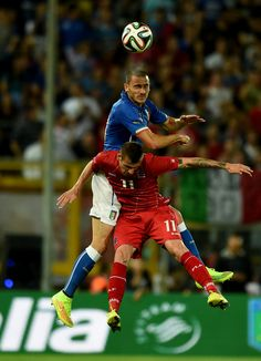 Leonardo Bonucci of Italy and Stefano Bensi of Luxembourg #11 compete for the ball during the international friendly match between Italy and...
