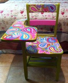 Paisley painted school desk and chair
