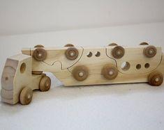 Puzzle camion jouet en bois, voiture camion en bois ensemble cadeau de Noël, enfant en bas âge Puzzle en bois camion #toysforkids