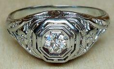 Vintage Antique .20ct Old European Cut Diamond 18k White Gold Engagement Ring Art Deco Filigree 1920 on Etsy, $395.00