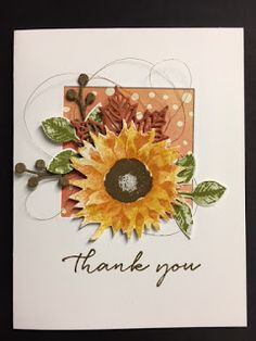 My Creative Corner!: Painted Harvest, Background Bits, Colorful Season, Thank You Card Stampin Up Karten, Karten Diy, Sunflower Cards, Stamping Up Cards, Rubber Stamping, Handmade Stamps, Making Greeting Cards, Ppr, Fall Cards