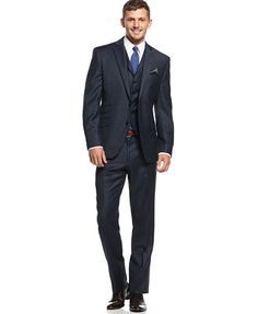 Kenneth Cole Reaction Grey Peak Lapel Vested Slim-Fit Suit - Shop ...