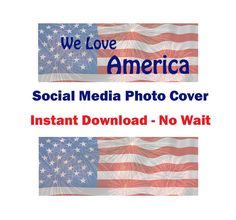 We Love America Social Media photo cover, US Flag SM banner, instant download, US flag & fireworks, blue red and white, no wait
