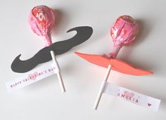 mustaches and lips valentines. When they suck on them it looks like they are wearing them. I love this idea!
