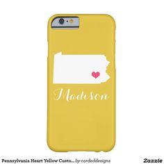 Pennsylvania Heart Yellow Custom Monogram Barely There iPhone 6 Case