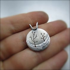 Round Northern Slope Silver Tree Pendant by BethMillner on Etsy, $200.00