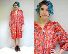 70s Boho Dress  // India Print Dress // by VintageUrbanRenewal