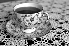 b, beautiful, black & white, black and white, cup (Full Size) Blackberry Tea, Turquoise Cottage, White Cottage, Rose Tea, Coffee Set, Krystal, Cup And Saucer, Tea Time, Tea Party