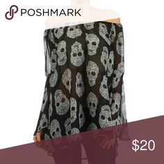 Off the shoulder blouse Black off the shoulder blouse with sugar skulls.  Looks great with jeans or leggings Tops Blouses