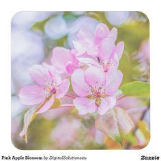 Pink Apple Blossom Square Paper Coaster