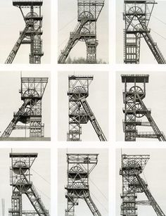 "Bernd and Hilla Becher, Column Elevator, 1988. In drawing attention to the cultural dimension of industrial architecture, their work  highlighted the need for preservation of these building. The images of structures with similar functions are then displayed side by side to invite viewers to compare their forms and designs based on function, regional idiosyncrasies, or the age of the structures. The Bechers used the term ""typology"" to describe these ordered sets of photographs."
