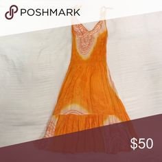 Cool Change Sundress Get ready for summer with this tie dye orange print sundress from Cool Change!  Semi-sheer, works with nude underwear or a swim suit coverup.  Glistens in the sun with subtle sequins. Adjustable tie straps. 100% rayon...fits XS-S. cool change Dresses Midi