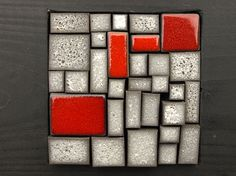 Stone grey and red mosaic ceramic. Wall by OlgaSanchezCeramista, $110.00