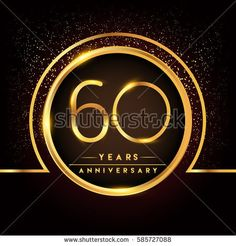 sixty years birthday celebration logotype. 60th anniversary logo with confetti and golden ring isolated on black background, vector design for greeting card and invitation card.