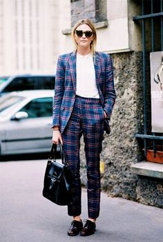 Aleatórios fashion: Blazer xadrez. Terninho azul, camisa branca, loafer preto
