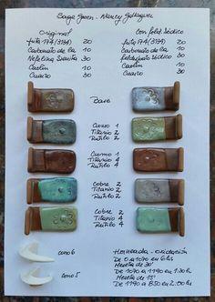 Sage Green  (Nancy Gallagher recipe): left with Nepheline, right with Sodium feldspar. Fb Clara Giorello