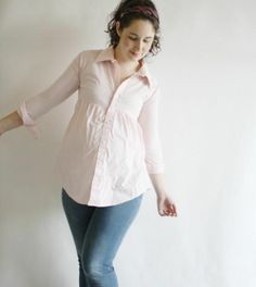 Button down maternity shirt refashion from men's tshirt